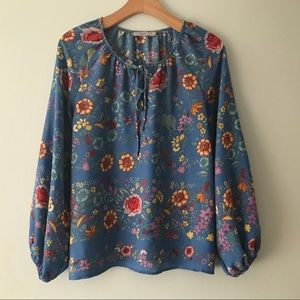 Tops - LONG SLEEVED FLORAL PRINT BLOUSE